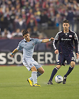 Sporting Kansas City midfielder Milos Stojcev (88) passes the ball. In a Major League Soccer (MLS) match, the New England Revolution defeated Sporting Kansas City, 3-2, at Gillette Stadium on April 23, 2011.