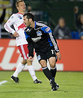 Joey Gjertsen of Earthquakes reacts after scoring a goal during the second half of the game against Red Bull at Buck Shaw Stadium in Santa Clara, California.  San Jose Earthquakes defeated New York Red Bulls, 4-0.