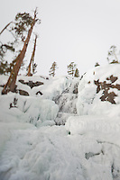 """Icy Eagle Falls 2"" - Photograph of frozen Eagle Falls above Emerald Bay, Lake Tahoe in the winter. The focus effect was achieved using a tilt-shift lens."