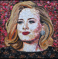 BNPS.co.uk (01202 558833)<br /> Pic: Bluebowerbird/BNPS<br /> <br /> Jane's latest work is a stunning portrait of singing sensation Adele, created for an Australian fan.<br /> <br /> PopArt - Artist Jane Perkins recreates famous people and paintings from recycled plastic rubbish.<br /> <br /> Her stunning 'Plastic Classics' generate the most interest and sell for thousands of pounds.<br /> <br /> She has created rubbish replica's of famous paiintings by Van Gogh's, Monet, Raphael, Gustav Klimt, Salvi and Frida Kahlo as well as Japanese artist Katsushika Hokusai's the Great Wave of Kanagawa.<br /> <br /> She also creates pictures of animals for private commissions. For example, a stunning work of a tiger's head is made up of objects like plastic toy animals, golf tees and beads.<br /> <br /> Jane, a former hospital nurse from Kenton, near Exeter, Devon, now sells her work for up to &pound;2,500 a go.<br /> <br /> She said: &quot;I go to car boot sales and buy anything that is plastic, mostly toys and bits of broken jewellery, anything small. The neighbours often give me bags of bits and pieces they no longer want. <br /> <br /> &quot;People love them because they can see the whole image but also see what is in it. They can find things in them that they recognise, like little bits from their childhood.