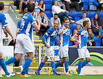 St Johnstone v Falkirk&hellip;23.07.16  McDiarmid Park, Perth. Betfred Cup<br />Steven MacLean points to himself to claim the third goal which was scored by Joe Shaughnessy<br />Picture by Graeme Hart.<br />Copyright Perthshire Picture Agency<br />Tel: 01738 623350  Mobile: 07990 594431