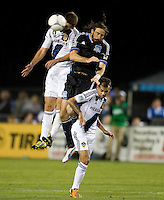 Tommy Meyer of Galaxy fights for the ball in the air against Alan Gordon of Earthquakes during the game at Buck Shaw Stadium in Santa Clara, California on November 7th, 2012.   LA Galaxy defeated San Jose Earthquakes, 3-1.