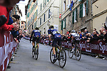 Tom Dumoulin (NED) Team Sunweb, Luke Durbridge (AUS) and Chris Juul Jensen (IRL/DEN) Orica-Scott on the final brutal climb of Via Santa Caterina in Siena during the 2017 Strade Bianche running 175km from Siena to Siena, Tuscany, Italy 4th March 2017.<br /> Picture: Eoin Clarke | Newsfile<br /> <br /> <br /> All photos usage must carry mandatory copyright credit (&copy; Newsfile | Eoin Clarke)