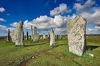 Outer row of stones, 27 metres long,  leading to the central stone circle, circa 2900BC .Calanais Neolithic Standing Stone (Tursachan Chalanais) , Isle of Lewis, Outer Hebrides, Scotland.