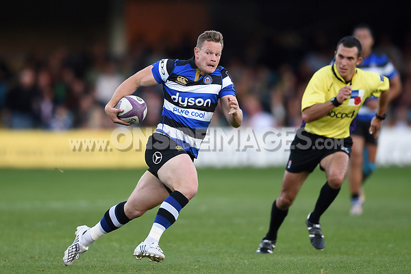 Chris Cook of Bath United in possession. Remembrance Rugby match, between Bath United and the UK Armed Forces on May 10, 2017 at the Recreation Ground in Bath, England. Photo by: Patrick Khachfe / Onside Images