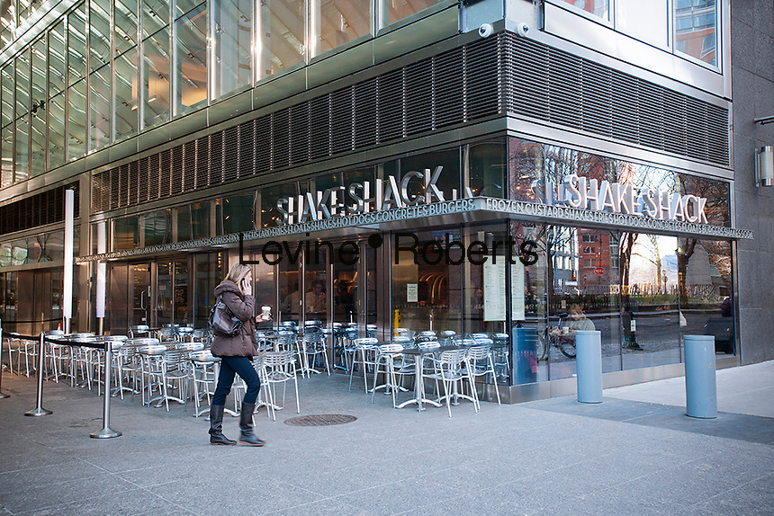 The Shake Shack in the Tribeca neighborhood of New York on Wednesday, January 25,2012. The popular restaurant, run by noted chef Danny Meyer's Union Square Hospitality Group, has branches in New York, Brooklyn, Miami, Connecticut, Washington, DC and Dubai.  (© Richard B. Levine)