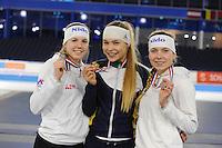 SCHAATSEN: HEERENVEEN: 04-02-2017, KPN NK Junioren, Podium Junioren A Dames 1000m, Elisa Dul, Jutta Leerdam, Joy Beune, ©foto Martin de Jong