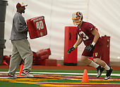 Linebacker Trent Murphy (93) of Stanford, who was chosen in the second round of the recent NFL draft, participates in a drill during the Washington Redskins' rookie minicamp at Redskins Park in Ashburn, Virginia on Saturday, May 17, 2014.<br /> Credit: Ron Sachs / CNP