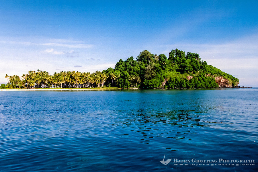 Riau Islands, Natuna Islands. Southwest Natuna. Small island just north of Kalimantan. Beach and palm trees.