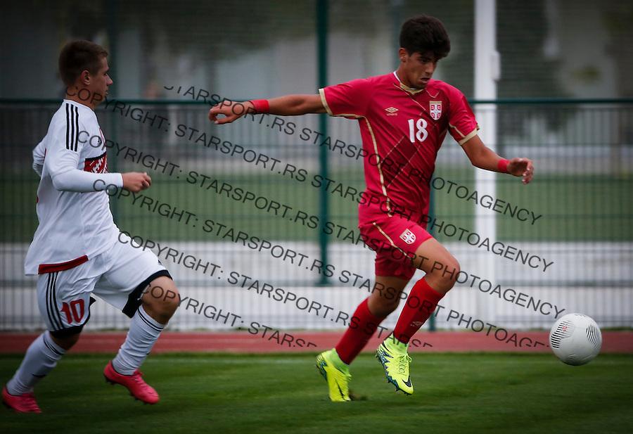 Fudbal Soccer<br /> International Friendly-Prijateljski mec<br /> Srbija U17 v Belorusiaj U17<br /> Stefan Stankovic (R) Yaheni Sakuta<br /> Stara Pazova, 20.09.2016<br /> foto: Srdjan Stevanovic/Starsportphoto &copy;