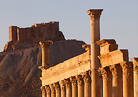 Great Colonnade and castle, Palmyra, Syria. Ancient city in the desert that fell into disuse after the 16th century.