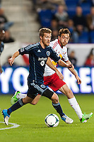 Oriol Rosell (20) of Sporting Kansas City. Sporting Kansas City defeated the New York Red Bulls 1-0 during a Major League Soccer (MLS) match at Red Bull Arena in Harrison, NJ, on April 17, 2013.