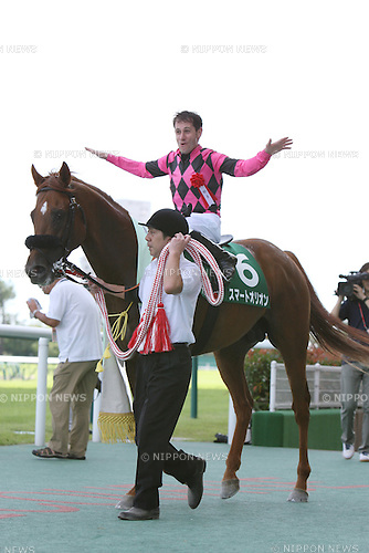 Smart Orion ( Mirco Demuro), JULY 26, 2015 - Horse Racing : Jockey Mirco Demuro riding Smart Orion celebrates after winning the Toyota Sho Chukyo Kinen at Chukyo Racecourse in Aichi, Japan. (Photo by Eiichi Yamane/AFLO)