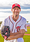 28 February 2016: Washington Nationals starting pitcher Max Scherzer poses for his Spring Training Photo-Day portrait at Space Coast Stadium in Viera, Florida. Mandatory Credit: Ed Wolfstein Photo *** RAW (NEF) Image File Available ***