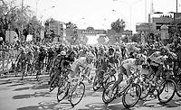 2013 Giro d'Italia.stage 6: Mola di Bari - Margherita di Savoia .169 km..The peloton in a local lap in Margherita di Savoia