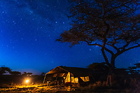 Stars in the sky over a luxury mobile tented camp, Serengeti National Park, Tanzania, East Africa