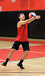 Cheshire, CT- 18 May 2017-051817CM12-  <br /> Cheshire's Mitch Manware goes after the ball during their SCC volleyball matchup against Xavier on Thursday.  Christopher Massa Republican-American