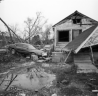 Destroyed homes in Lower 9th Ward area of New Orleans,  six months post Hurricane Katrina