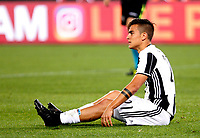 Calcio, Serie A: Roma vs Juventus. Roma, stadio Olimpico, 14 maggio 2017. <br /> Juventus&rsquo; Paulo Dybala reacts during the Italian Serie A football match between Roma and Juventus at Rome's Olympic stadium, 14 May 2017. Roma won 3-1.<br /> UPDATE IMAGES PRESS/Riccardo De Luca