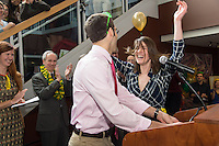 Adam Bensimhon, left, class of 2013, and Hannah Foote, class of 2014. Photo by Raj Chawla / UVM Medical Photography Match Day, class of 2013.