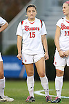 22 November 2013: St. John's Morgan Tinari (15). The University of Arkansas Razorbacks played the Saint John's University Red Storm at Koskinen Stadium in Durham, NC in a 2013 NCAA Division I Women's Soccer Tournament Second Round match. Arkansas won the game 1-0.