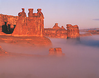 Morning Fog in Arches National Park, Utah  Rare fog with Three Gossips and Sheep Rock    Courthouse Towers Sections