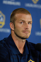 Toronto (ON), August 4, 2007 - David Beckham at the LA Galaxy pre-game press conference in the Air Canada Centre in anticipating Sundayís game against Toronto FC. David, however, will not be playing the match due to his ankle injury.