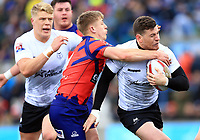 TORONTO, ON - MAY 06:  Blake Wallace #6 of Toronto Wolfpack is tackled by Casey Canterbury #9 of Oxford RLFC during the first half of a Kingstone Press League 1 match at Lamport Stadium on May 6, 2017 in Toronto, Canada.  (Photo by Vaughn Ridley/SWpix.com)