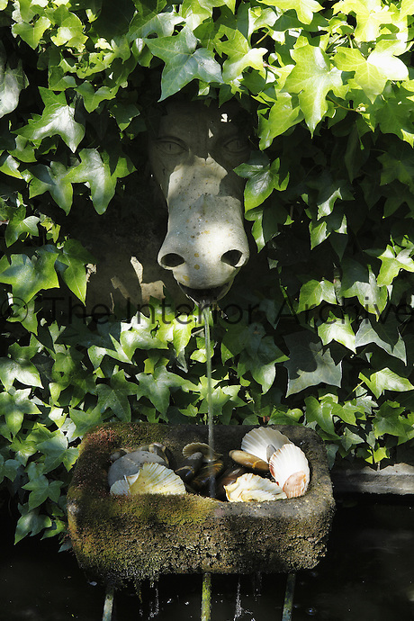 Water trickles from the stone head of a horse shrouded in ivy into a stone trough filled with sea shells