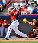 4 March 2011: Washington Nationals infielder Chris Marrero loses his grip on the bat during Spring Training action against the Atlanta Braves at Space Coast Stadium in Viera, Florida. The Braves defeated the Nationals 6-4 in Grapefruit League action. Mandatory Credit: Ed Wolfstein Photo