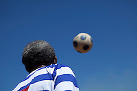 """21 February 2010, Sharpeville, South Africa. Simon """"Bull"""" Lehoko, voted one of the top 50 football players of all time, with his team """"Soccer Legends""""."""