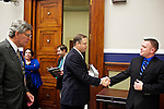 Congressman-elect Jim Bridenstine, from Oklahoma's First District, center, makes decisions about his future office, with his chief of staff Joe Kaufman, left, in the Rayburn House Office Building in Washington, DC on Nov. 30, 2012. The lengthly process included picking his office for his first term in Congress and talking with the architect about how to structure his new room.