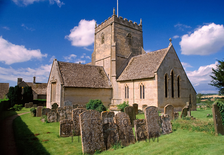 St Laurence Church in Wyck Rissington in The Cotswolds, Gloucestershire, England, UK