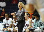 "Mississippi head coach Renee Ladner yells during a game against Central Michigan at C.M. ""Tad"" Smith Coliseum in Oxford, Miss. on Wednesday, December 14, 2011. (AP Photo/Oxford Eagle, Bruce Newman)"