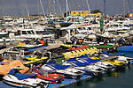 Jet ski yacht small craft marina, Corralejo harbour, Fuerteventura, Canary Islands, Spain. May 2007.