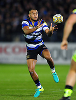 Jonathan Joseph of Bath Rugby receives the ball. Aviva Premiership match, between Bath Rugby and Sale Sharks on October 7, 2016 at the Recreation Ground in Bath, England. Photo by: Patrick Khachfe / Onside Images
