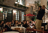 Leopoldo Rigoletti's restaurant Cafe Torino at night.  Santa Fe, Mexico City