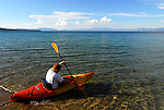 Kayaker at D.L. Bliss State Park, Lake Tahoe