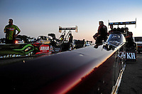 Jul, 8, 2011; Joliet, IL, USA: The cars of NHRA top fuel dragster drivers Larry Dixon (right) and Terry McMillen during qualifying for the Route 66 Nationals at Route 66 Raceway. Mandatory Credit: Mark J. Rebilas-