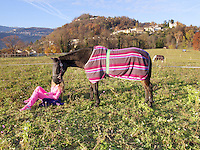 Switzerland. Canton Ticino. Muzzano. A woman wearing a pink exercise outfit is seated on the grass with her horse standing by. Muzzano is distant 5km from Lugano. 19.11.12  © 2012 Didier Ruef