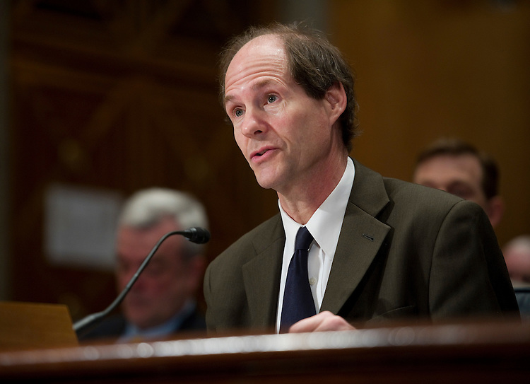 WASHINGTON, DC - April 14: Cass R. Sunstein, administrator of the Office of Information and Regulatory Affairs at the Office of Management and Budget, during the Senate Homeland Security and Governmental Affairs hearing on federal regulation and the public interest. (Photo by Scott J. Ferrell/Congressional Quarterly)