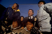 Seoul, South Korea<br /> December 13 1987<br /> <br /> Kim Dea-jong, the opposition leader to the ruling party campaigning during the South Korean presidential elections in Seoul's Poramae Park. <br /> <br /> Kim Dae-jung (3 December 1925 to 18 August 2009) was President of South Korea from 1998 to 2003, and the 2000 Nobel Peace Prize recipient. As of this date Kim is the first and only Nobel laureate to hail from Korea. A Roman Catholic since 1957, he has been called the &quot;Nelson Mandela of Asia&quot; for his long-standing opposition to authoritarian rule.