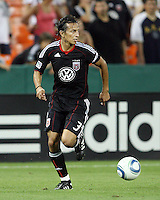 Juan Manuel Pena #3 of D.C. United during an international charity match against the national team of El Salvador at RFK Stadium, on June 19 2010 in Washington DC. D.C. United won 1-0.