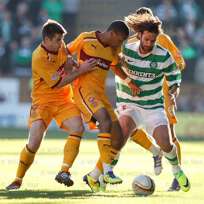 Geotgios Samaras takes on the Motherwell defence