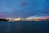 Sydney harbour at dusk and night Images | Sydney harbour bridge &amp; Sydney opera House