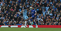 Leicester City's Riyad Mahrez and Manchester City's Gael Clichy<br /> <br /> Photographer Stephen White/CameraSport<br /> <br /> The Premier League - Manchester City v Leicester City - Saturday 13th May 2017 - Etihad Stadium - Manchester<br /> <br /> World Copyright &copy; 2017 CameraSport. All rights reserved. 43 Linden Ave. Countesthorpe. Leicester. England. LE8 5PG - Tel: +44 (0) 116 277 4147 - admin@camerasport.com - www.camerasport.com