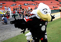 WASHINGTON, DC. - AUGUST 22, 2012:  Talon, mascot of DC United before an MLS match against the Chicago Fire at RFK Stadium, in Washington DC,  on August 22. United won 4-2.