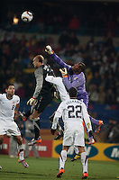 Ghana's goalkeeper Richard Kingson punches the ball away from USA goalkeeper Tim Howard  in a second round match of the 2010 FIFA World Cup between USA and Ghana in Rustenberg, South Africa on Saturday, June 26, 2010.  Ghana won 2-1.