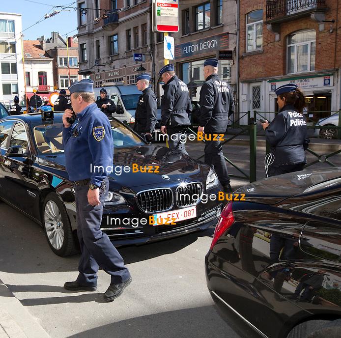 Le pr&eacute;sident de la r&eacute;publique Fran&ccedil;ois Hollande arrive au d&eacute;jeuner du Parti socialiste europ&eacute;en (PSE) &agrave; Bruxelles, le 20 mars 2014. Fran&ccedil;ois Hollande est en d&eacute;placement &agrave; Bruxelles pour &eacute;galement assister &agrave; un Conseil Europ&eacute;en. <br /> Belgique, Bruxelles, 20 mars 2014.<br /> <br /> Semi-Exclusive : French President Fran&ccedil;ois Hollande arriving at the lunch of the Party of European Socialists (PES) in Brussels, during the European Council.<br /> Belgium, Brussels, March 20, 2014.