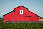 Freshly painted red barn with the letter B in California's San Joaquin Valley